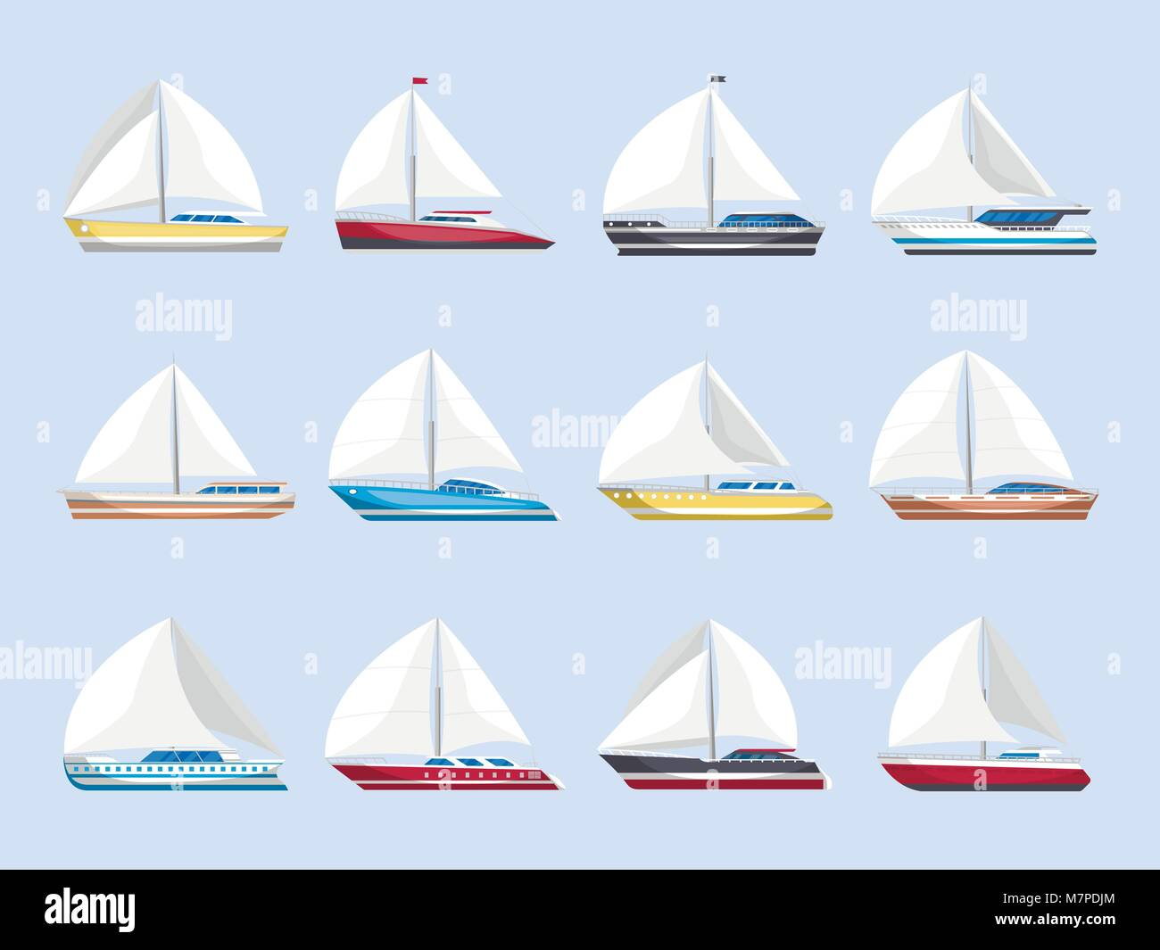 Sea sailboats side view isolated set - Stock Vector