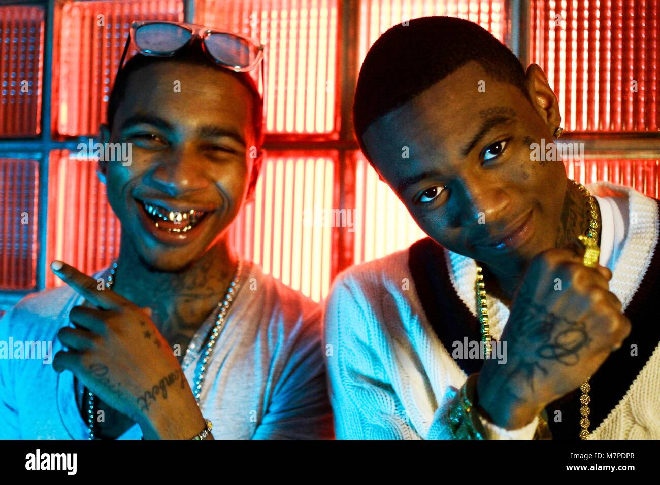 Lil B and Soulja Boy on set of his music video with Lil B