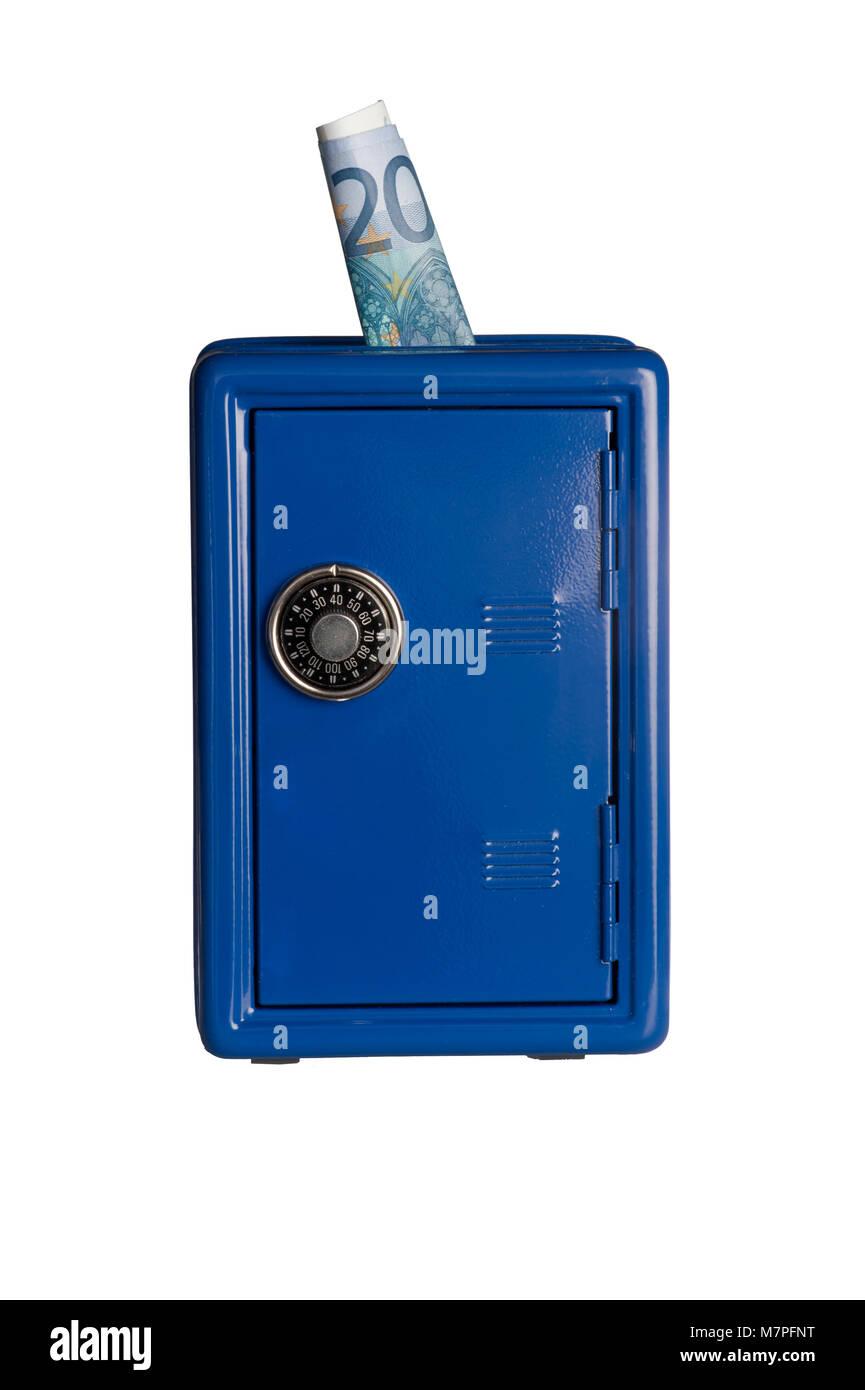 Blue safe on white background - Stock Image