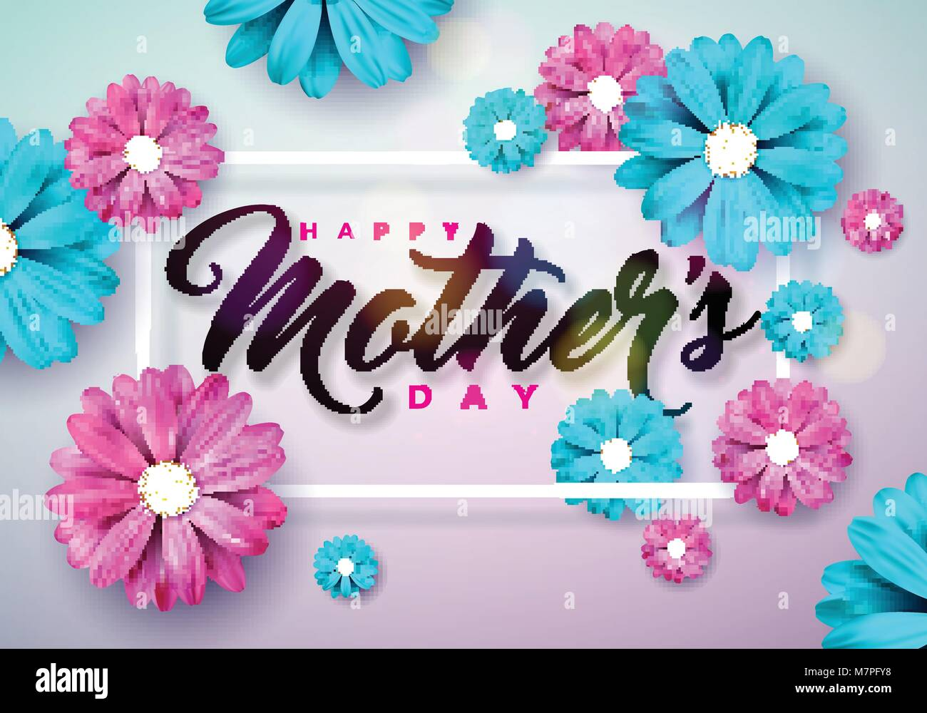 Happy Mothers Day Greeting Card With Flower On Pink Background Vector Celebration Illustration Template Typographic Design For Banner Flyer