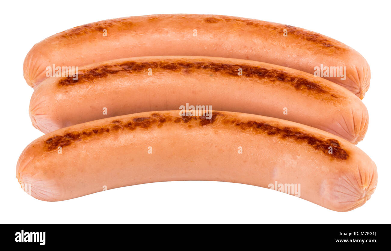 Tasty grilled sausage isolated on a white background. - Stock Image