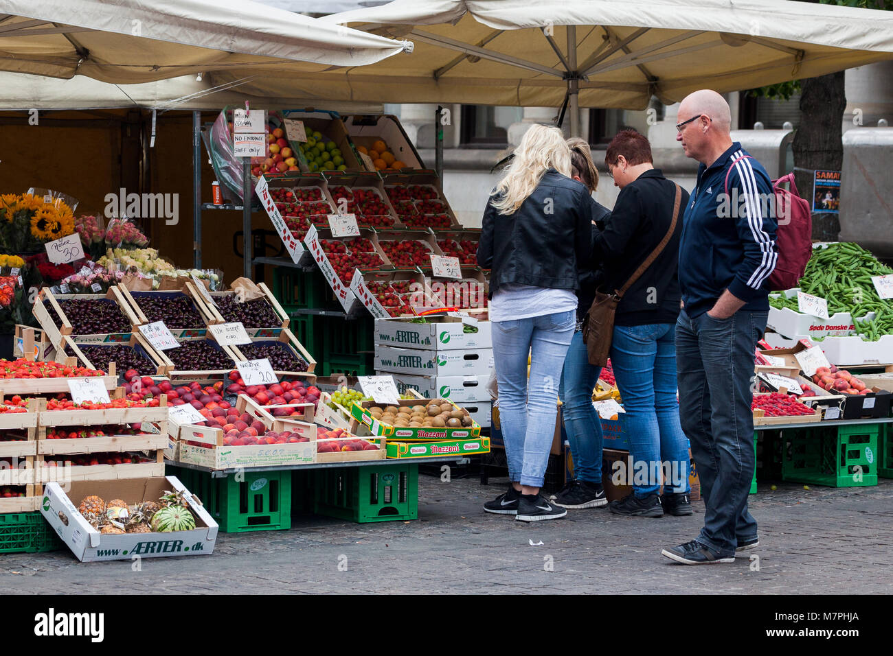 market stall selling fresh fruit and vegetables. Copenhagen Denmark - Stock Image