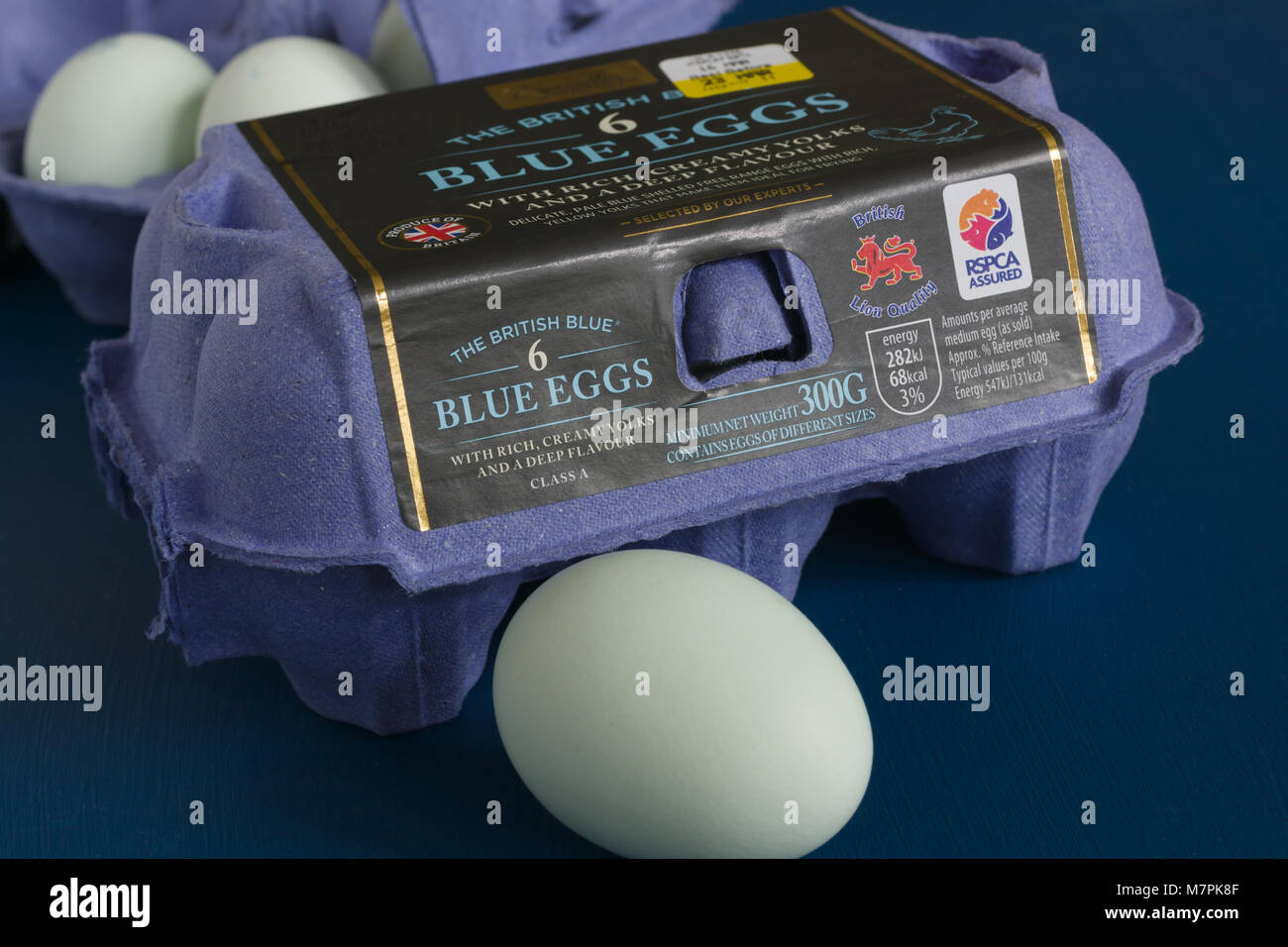The British Blue hens eggs stocked under the Aldi Specially Selected brand developed and produced in Lincolnshire - Stock Image