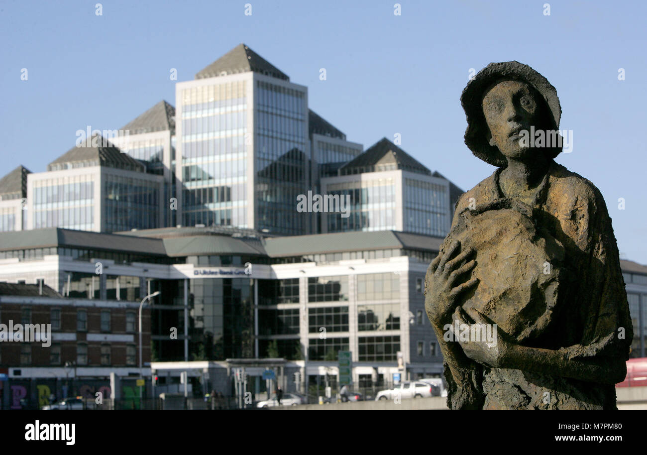 A general view of statues depicting the Irish Famine in Dublin's Financial district, Dublin, Ireland, 1 Oct, - Stock Image