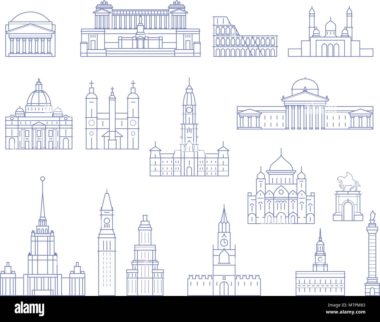 European architecture - buildings, cathedrals and monuments in line style - Stock Vector