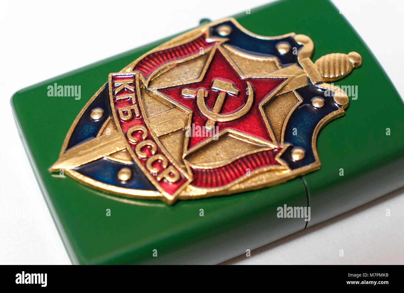 russian kgb badge on metal cigarette lighter - Stock Image