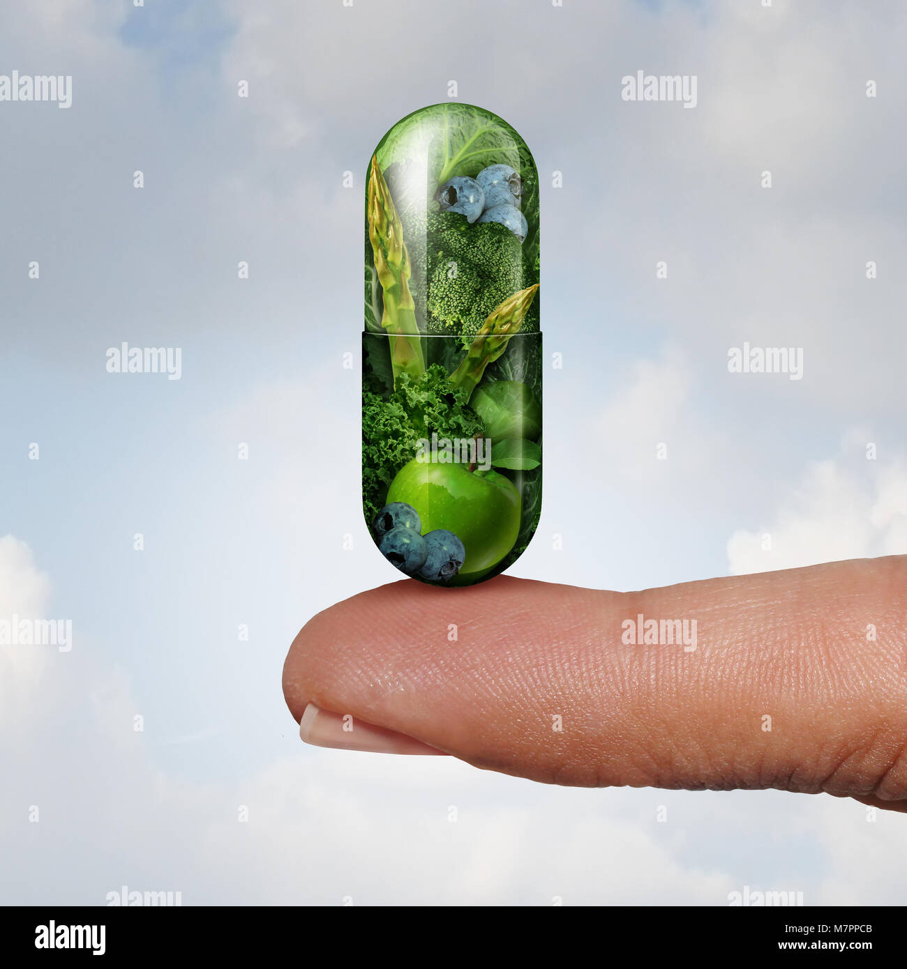 Health vitamin and dietary supplement as an alternative medicine and naturopathy or homeopathy symbol as a finger - Stock Image