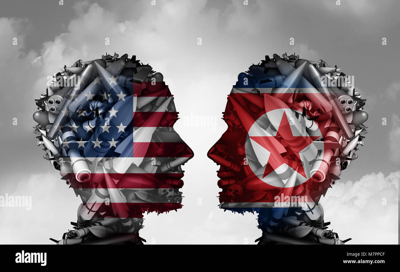North Korea and United States talks facing nuclear tensions as a meeting with two groups of bombs and missiles shaped - Stock Image