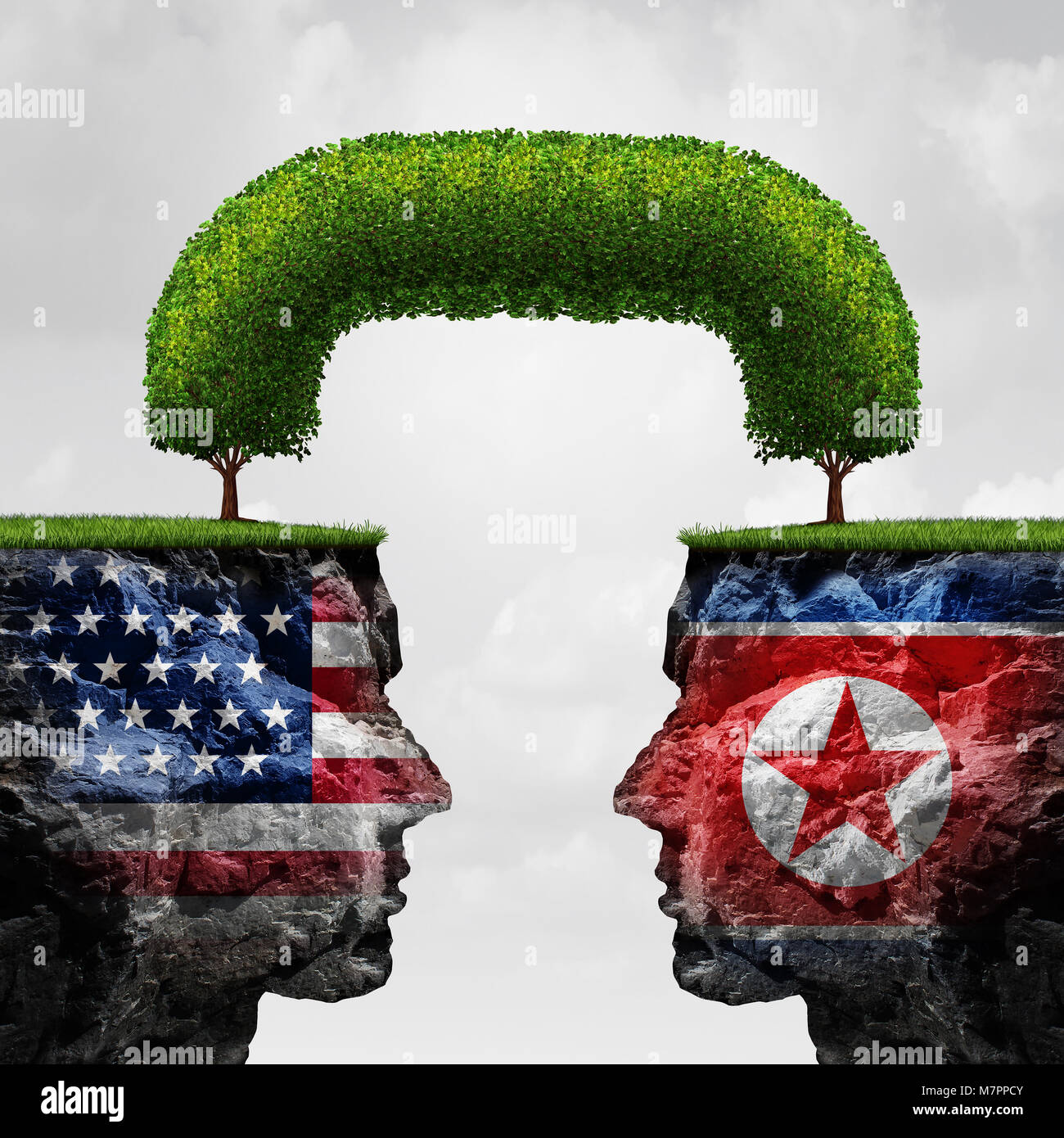 American and North Korea agreement and diplomacy between pyongyang and washington as an asian crisis negotiation - Stock Image