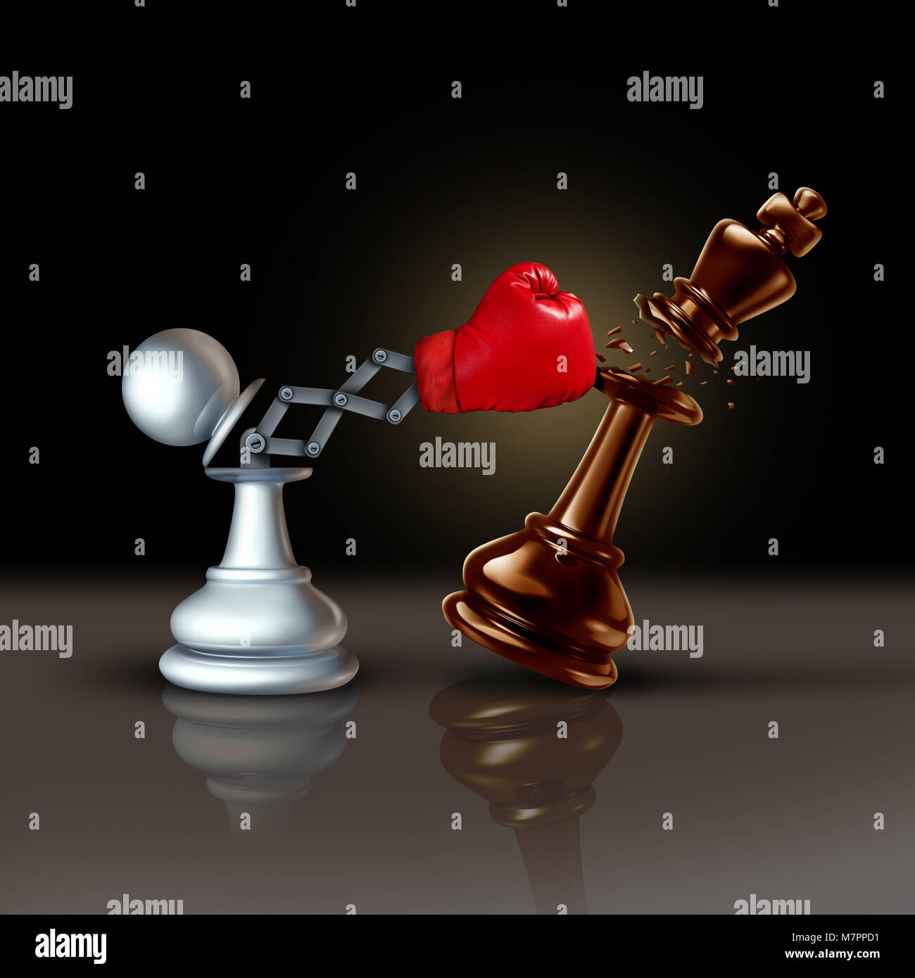 Knock out business concept or knocking and punching symbol as a secret weapon with a chess pawn beating the king - Stock Image