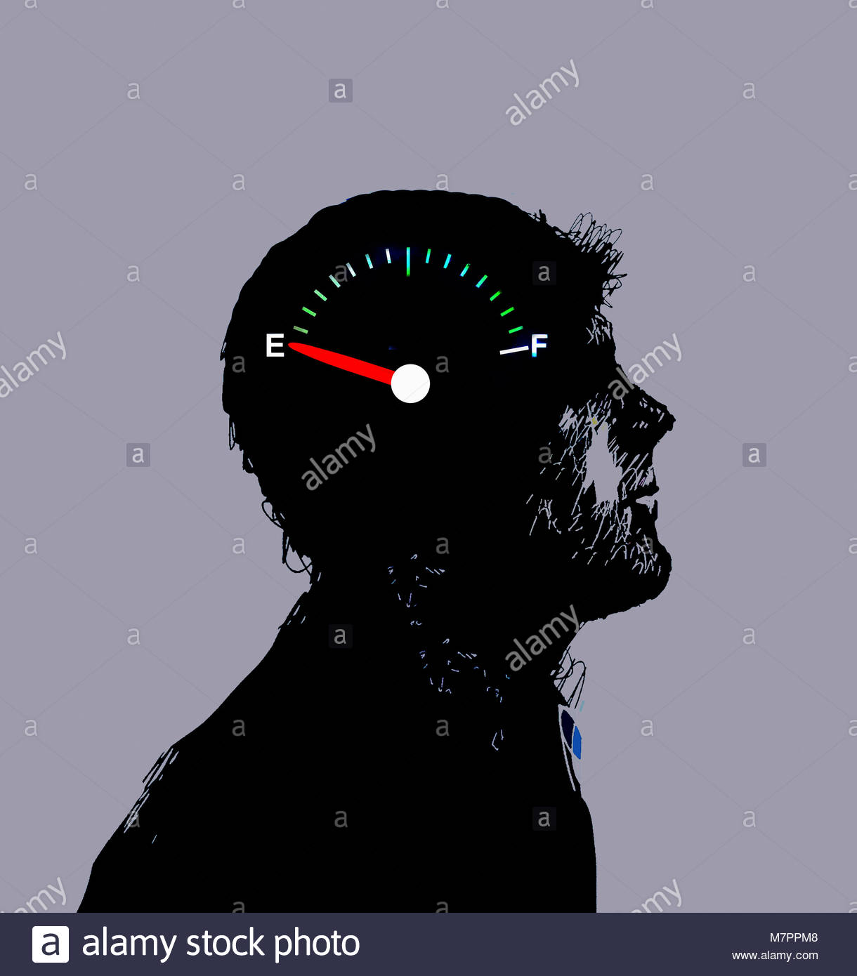 Gauge on empty inside of man's head - Stock Image