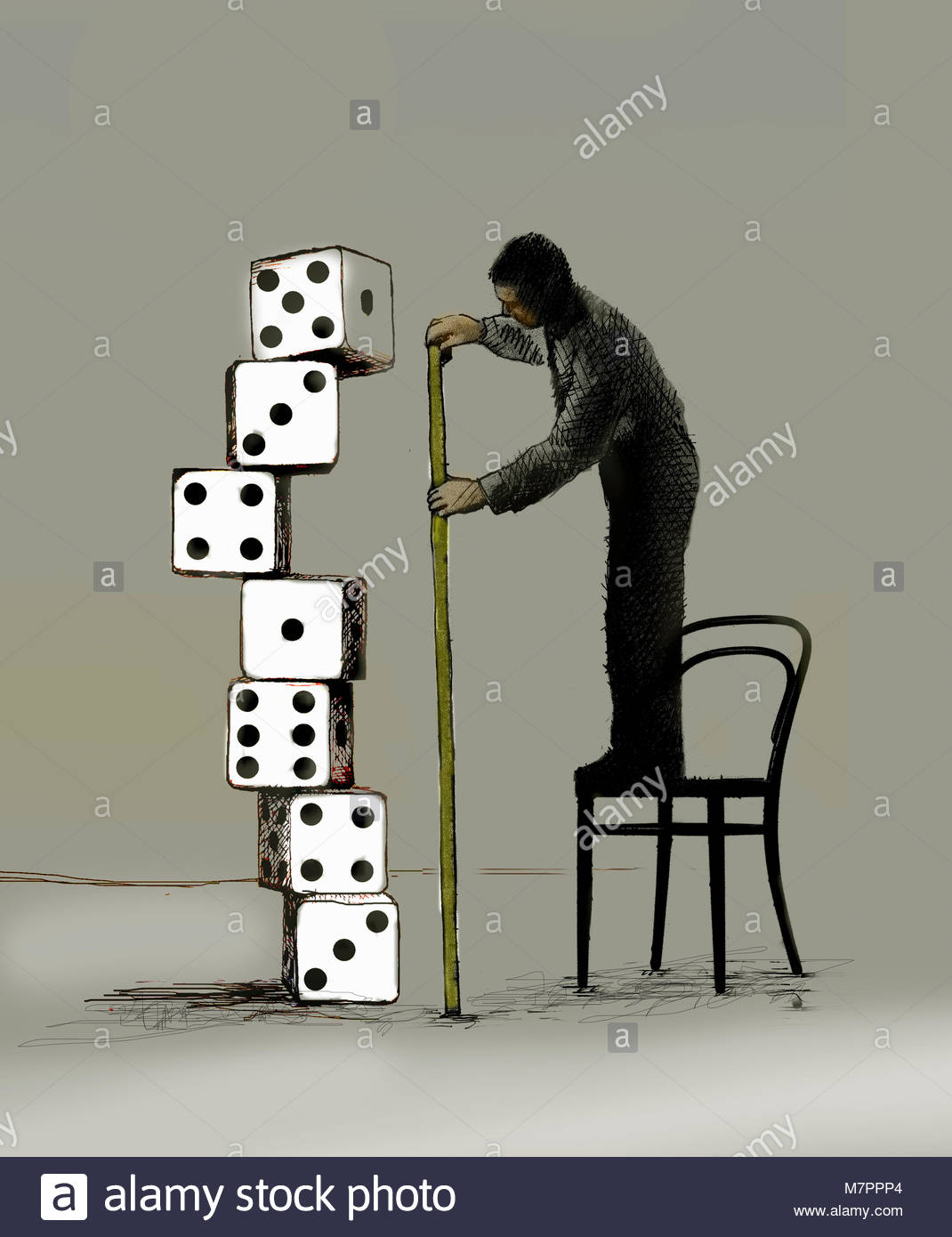 Businessman standing on chair measuring pile of dice - Stock Image