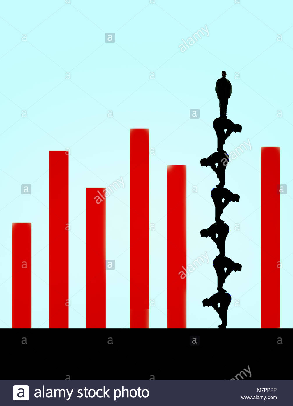Man standing on top of human pyramid forming column in bar chart - Stock Image