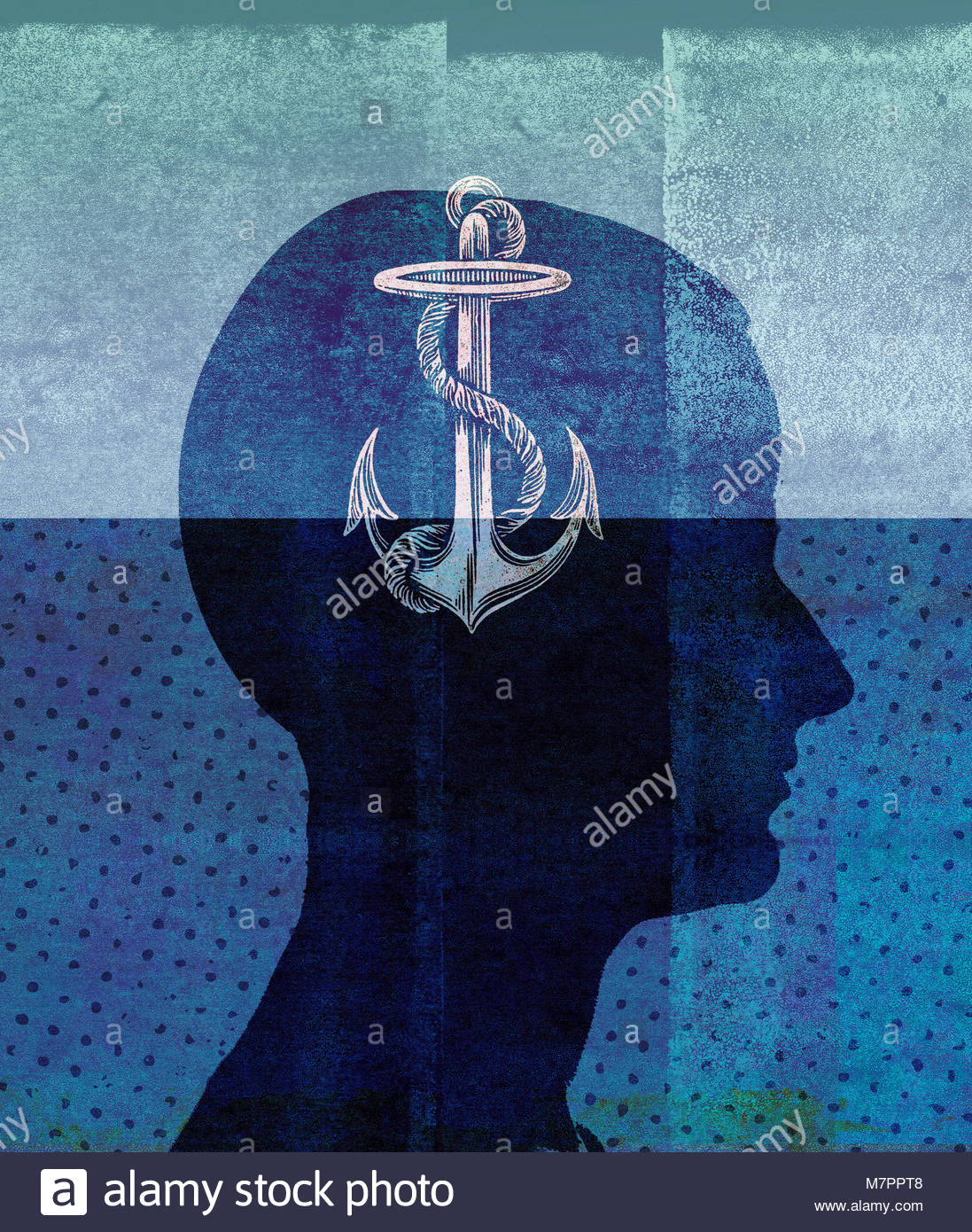 Profile of man sinking in water with anchor inside of head - Stock Image