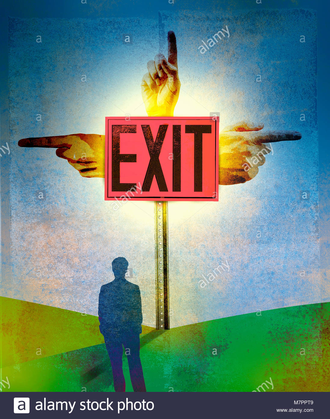 Businessman looking at confusing exit sign with hands pointing in different directions - Stock Image