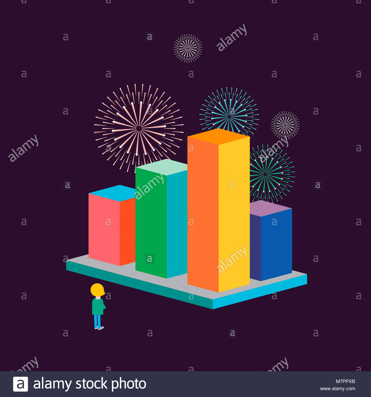 Fireworks above successful bar chart - Stock Image