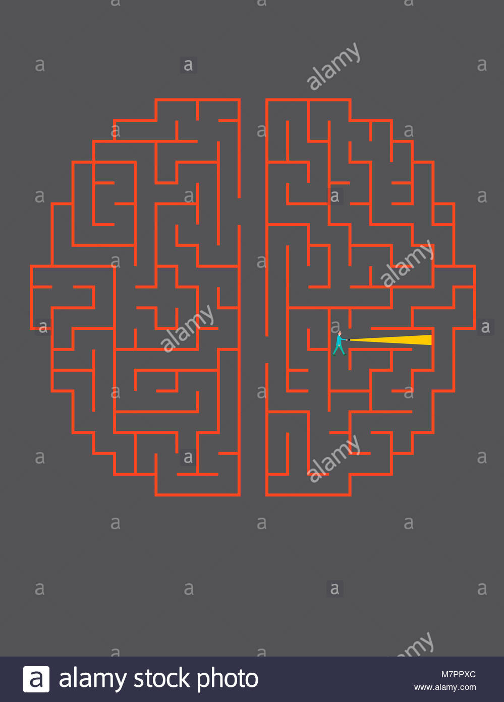 Businessman with torch lost in brain maze - Stock Image