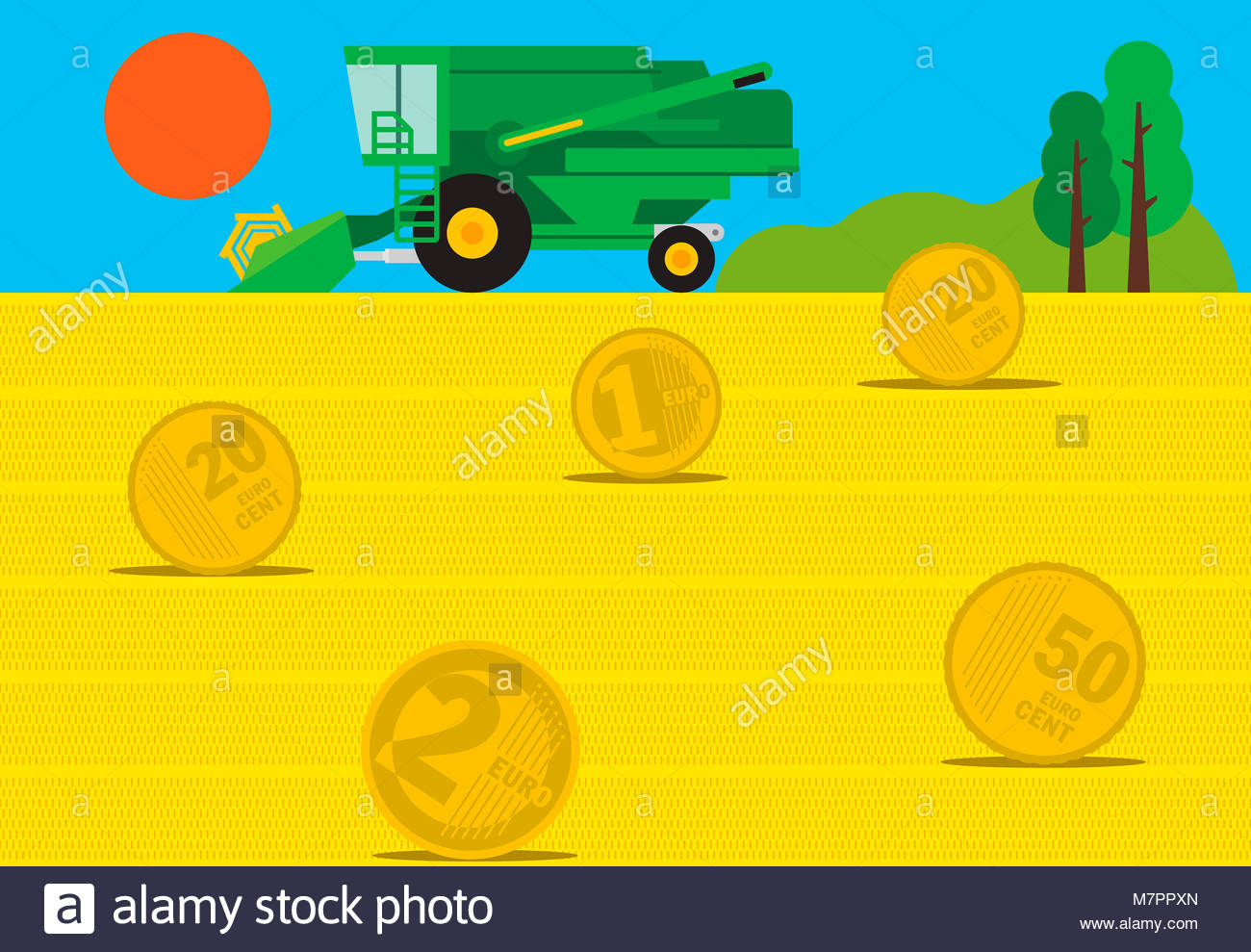 Combine harvester in field of euro coin hay bales - Stock Image