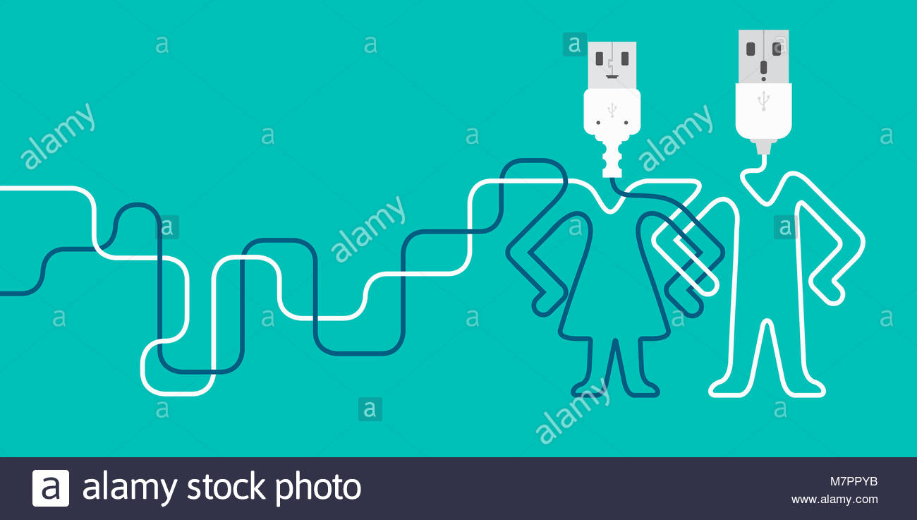 Male and female USB connections - Stock Image