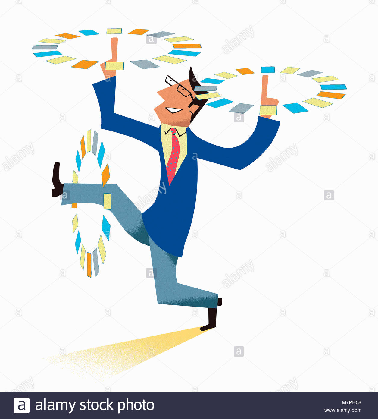 Businessman multitasking spinning papers in circles round arms and leg - Stock Image