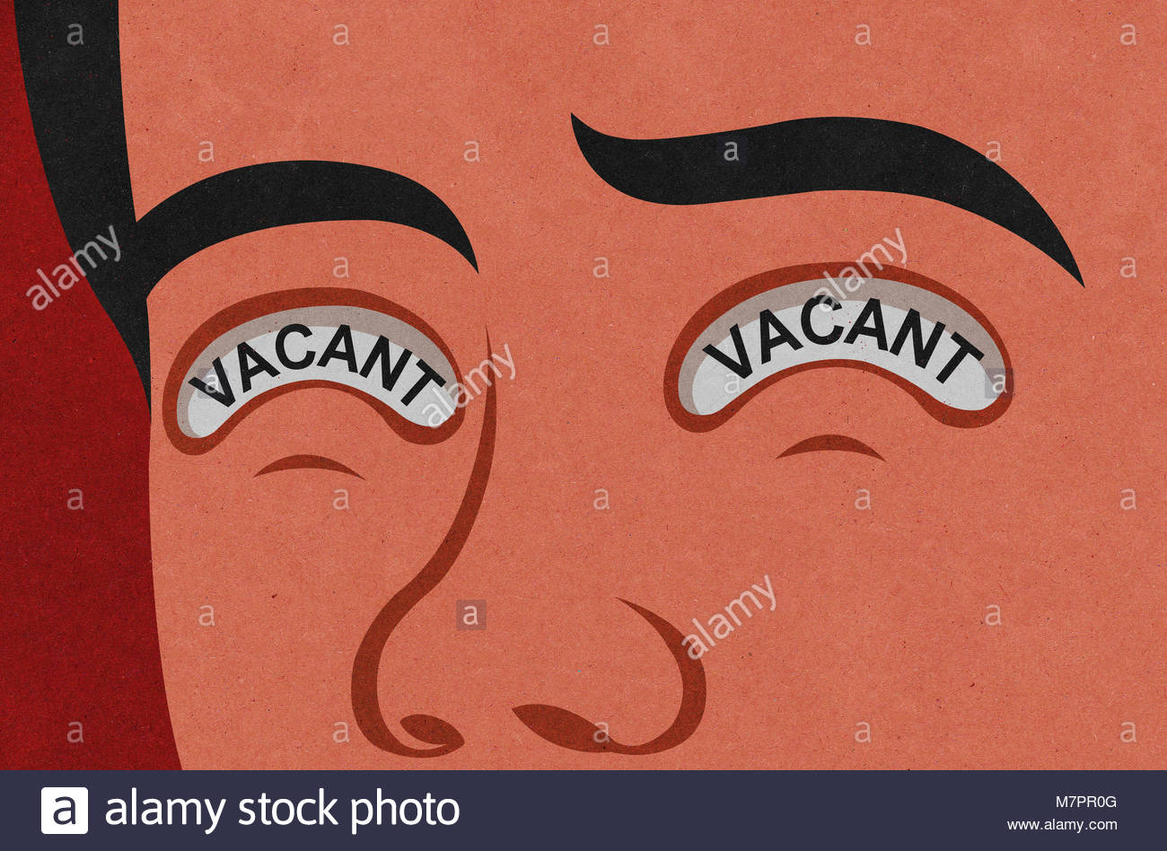 Close up of man's face with the word 'vacant' written in his eyes - Stock Image
