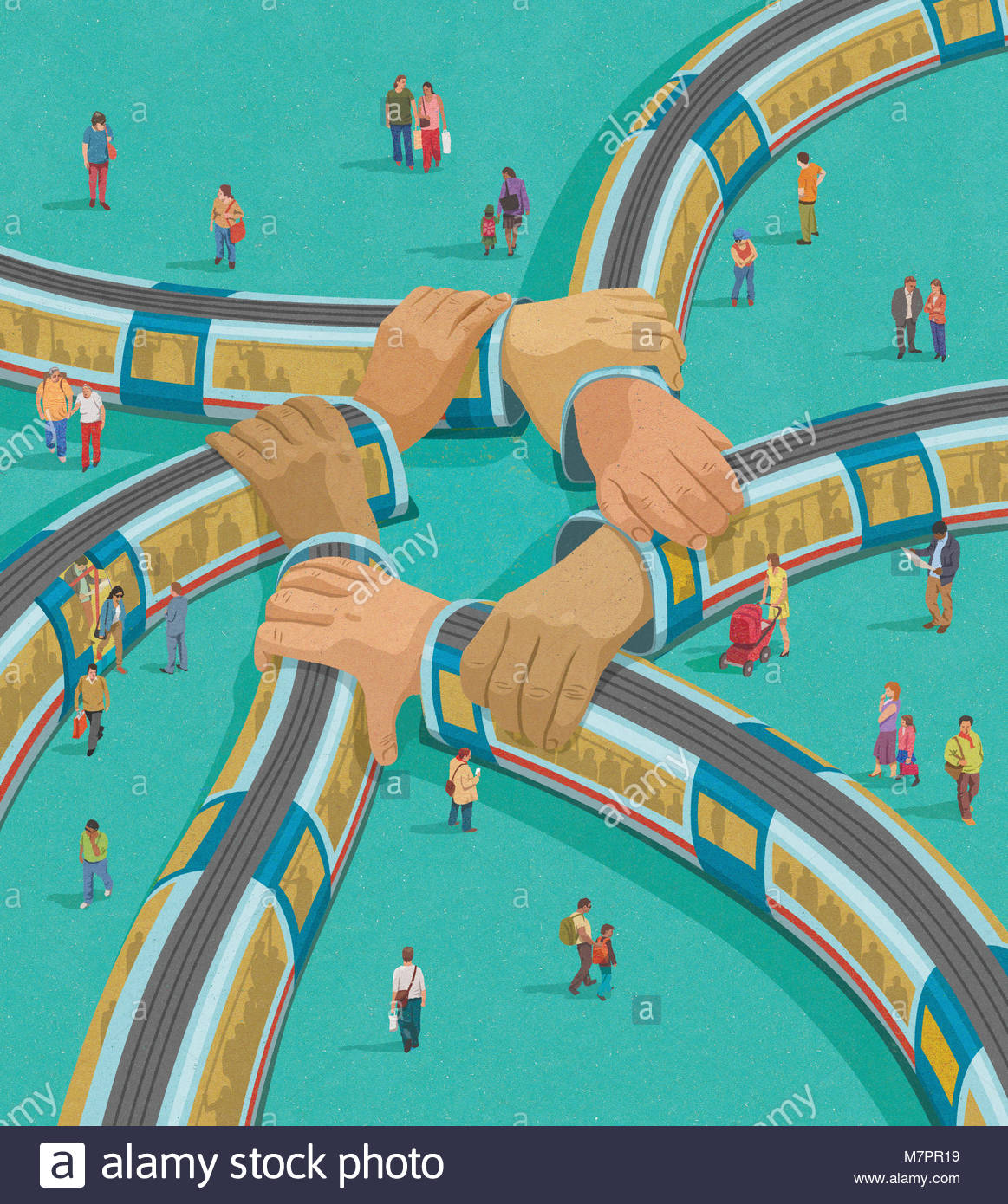 Trains interconnecting as linked arms - Stock Image