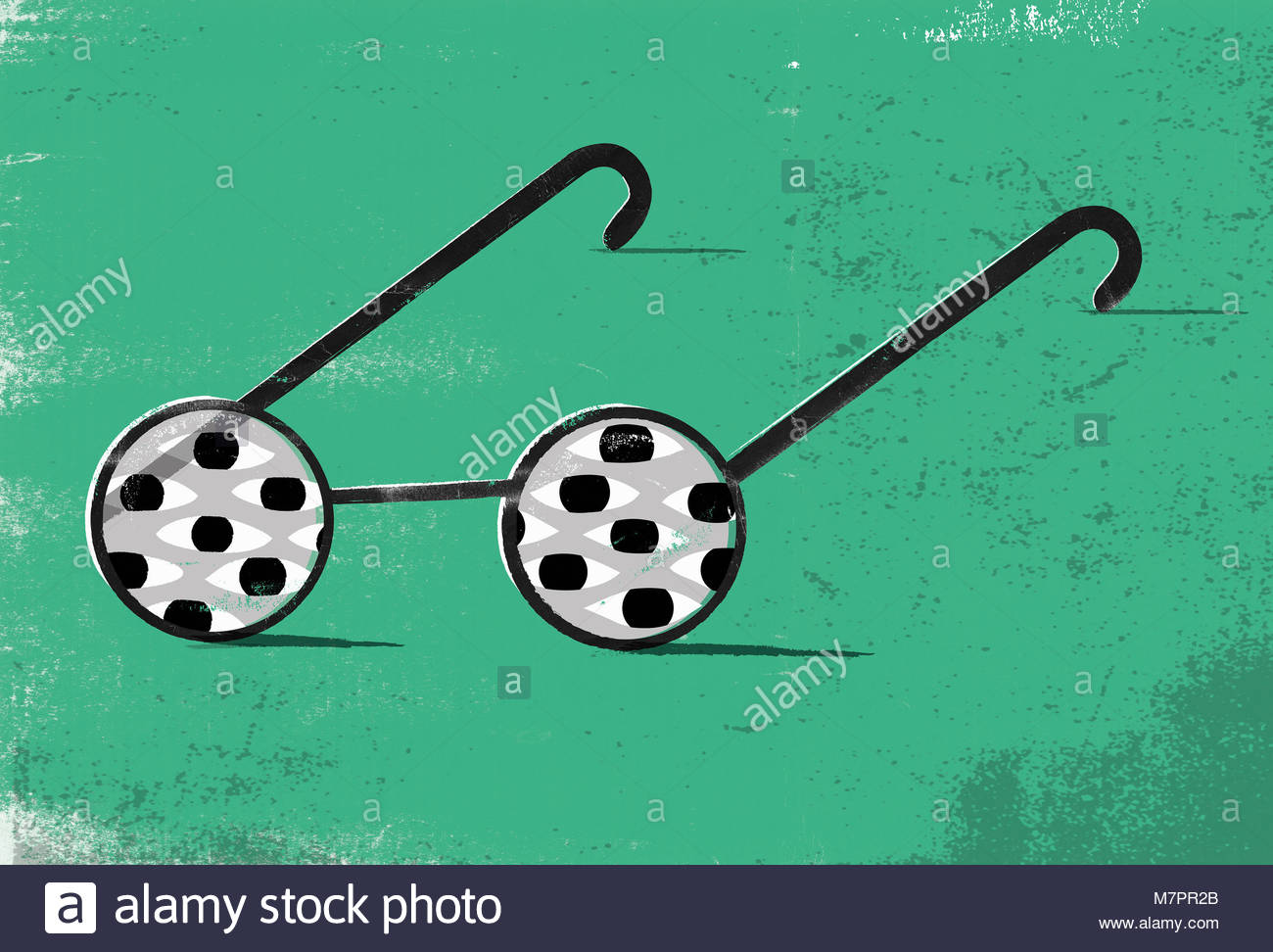 Lots of eyes in lenses of pair of glasses - Stock Image