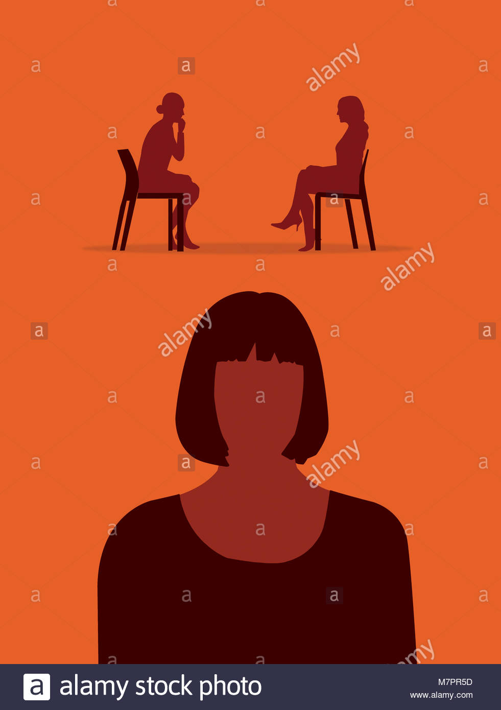 Woman thinking about therapy - Stock Image