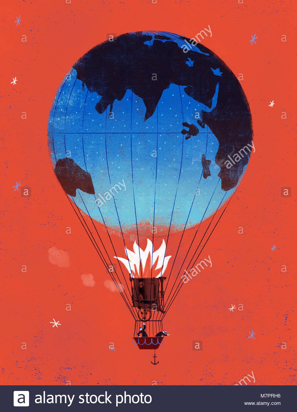 Steampunk globe hot air balloon - Stock Image