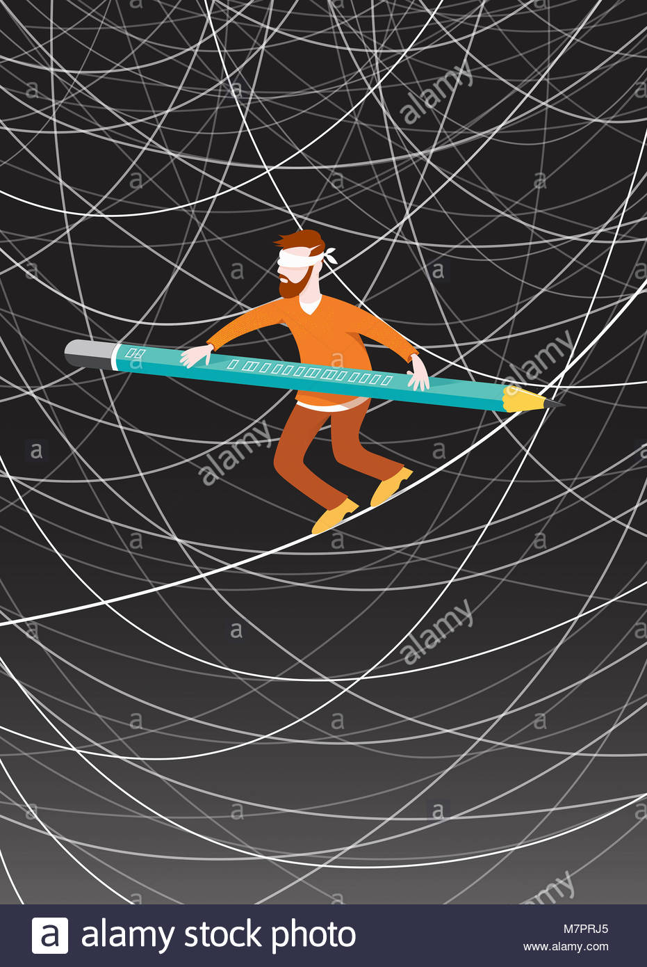 Blindfolded man walking tightrope balancing with pencil among lots of tangled lines - Stock Image