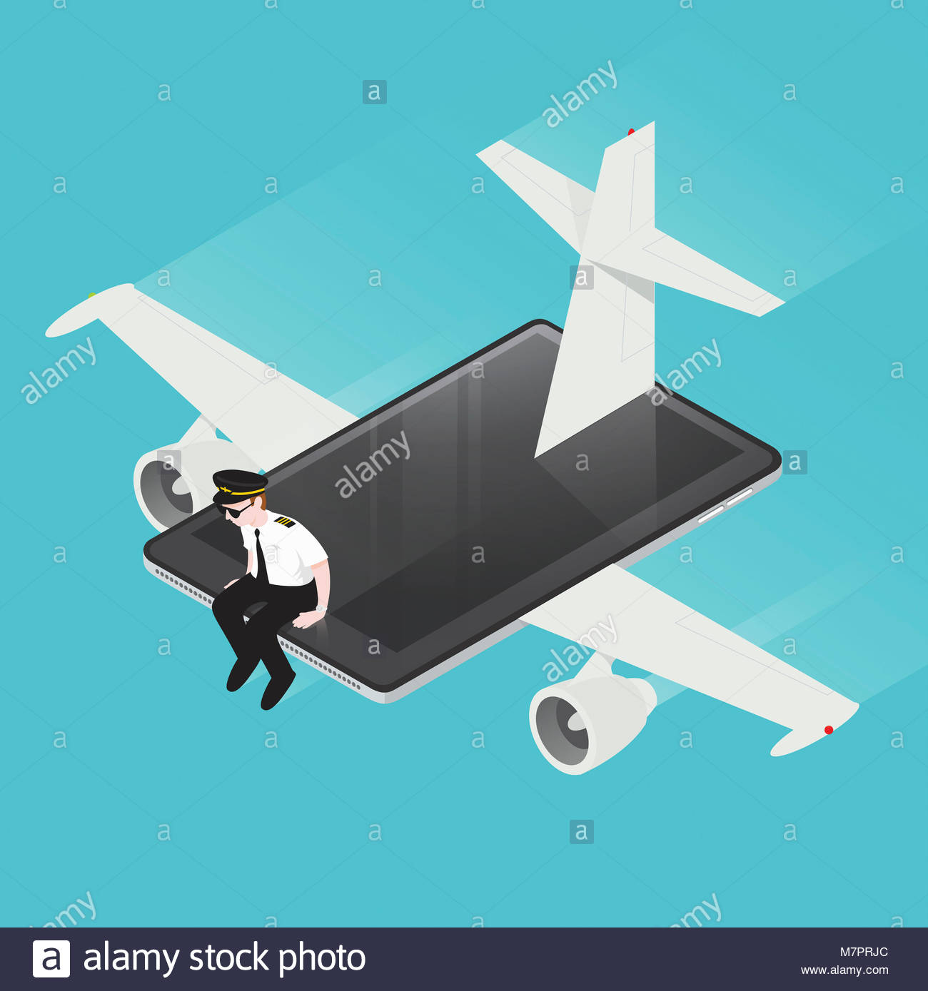 Airline pilot flying computer tablet airplane - Stock Image