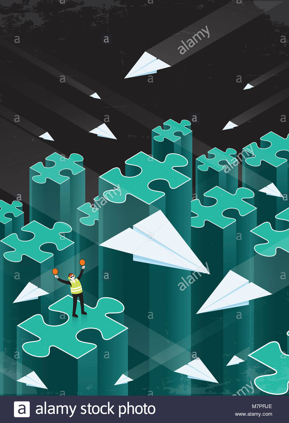 Air traffic controller directing paper airplanes between disconnected jigsaw puzzle piece columns - Stock Image