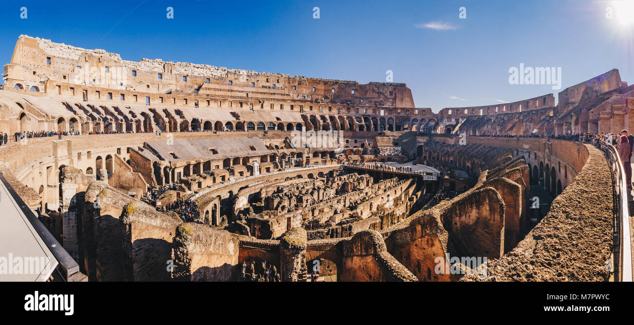 Panorama of the Colosseum interior, Rome, Italy - Stock Image