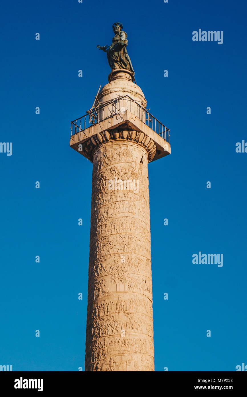 Trajan's Column (Colonna Traiana) in Rome, Italy. Commemorates Roman emperor Trajan's victory in the Dacian Wars Stock Photo