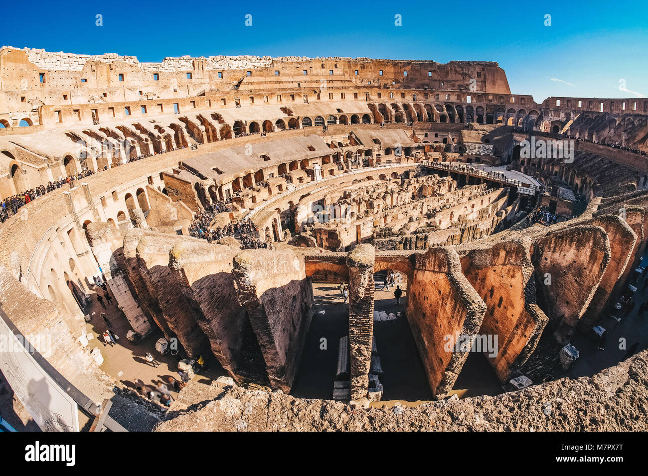 Inside the Roman Colosseum in Rome, Italy panoramic view - Stock Image