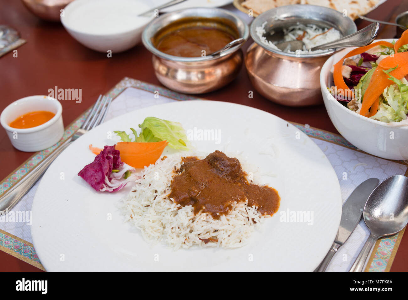 Rogan Josh with rice - Indian cuisine - Stock Image