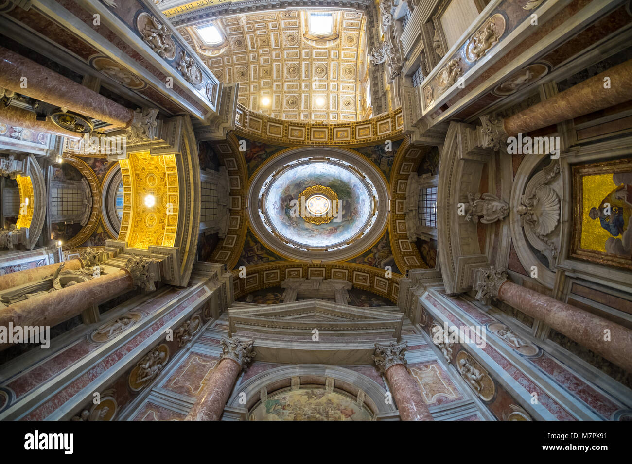 The ceiling of Saint Peter Basilica in Vatican, Rome, wide angle lens view - Stock Image