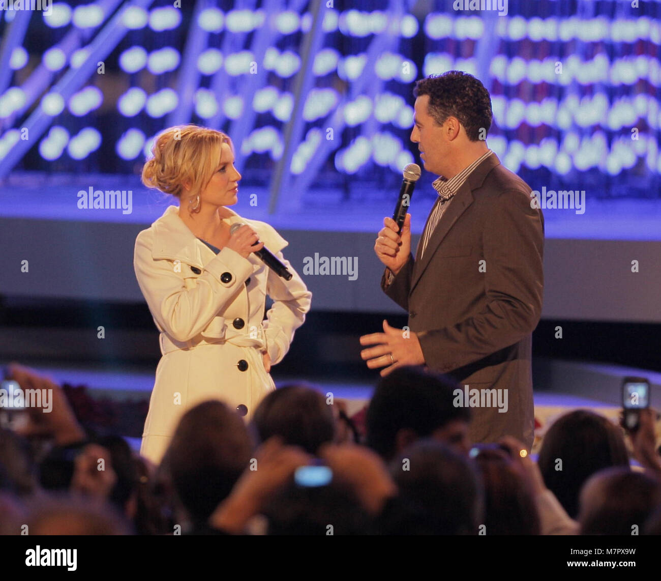 LOS ANGELES, CA - DECEMBER 04: Singer Britney Spears lights the tree on stage at the 'Light of the Angels' Holiday Stock Photo