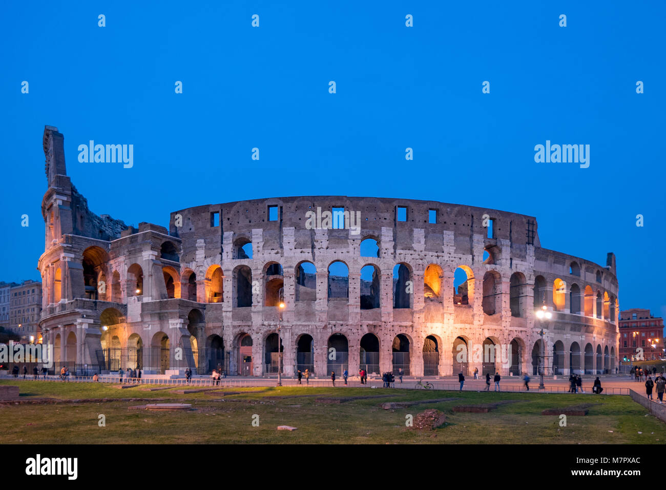 Rome by night the Colosseum - Stock Image