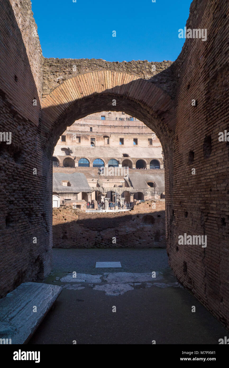 Archway inside Colosseum, Rome, Italy - Stock Image