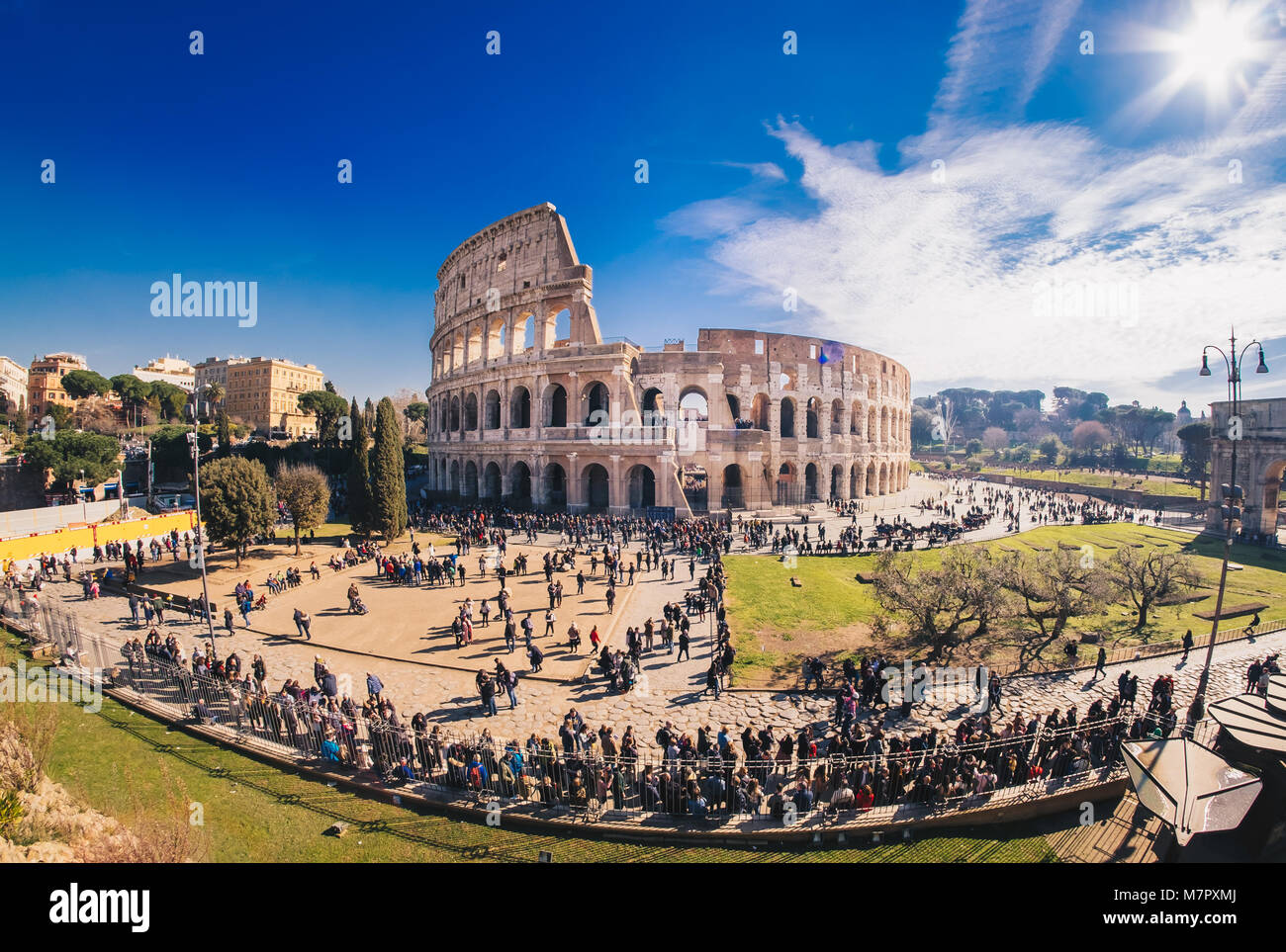 TThe Roman Colosseum in Rome, Italy, HDR panorama - Stock Image