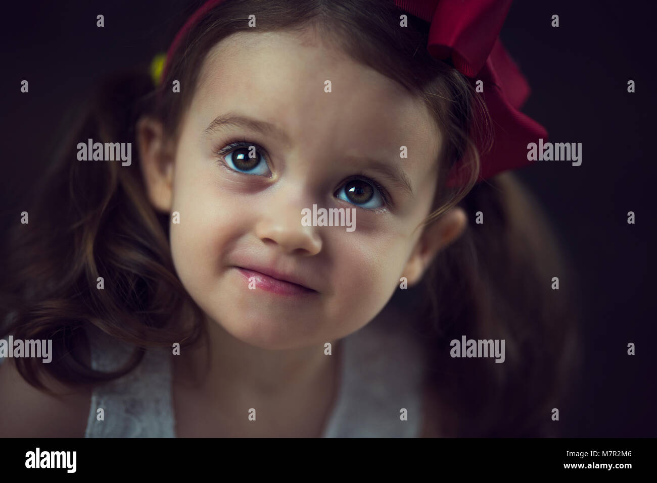 A portrait of a little girl. Studio photography - Stock Image