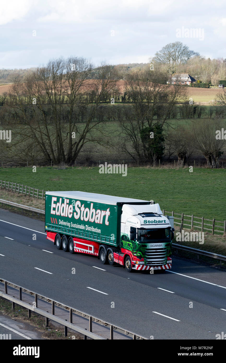 A Scania Eddie Stobart lorry on the M40 motorway, Warwickshire, UK Stock Photo