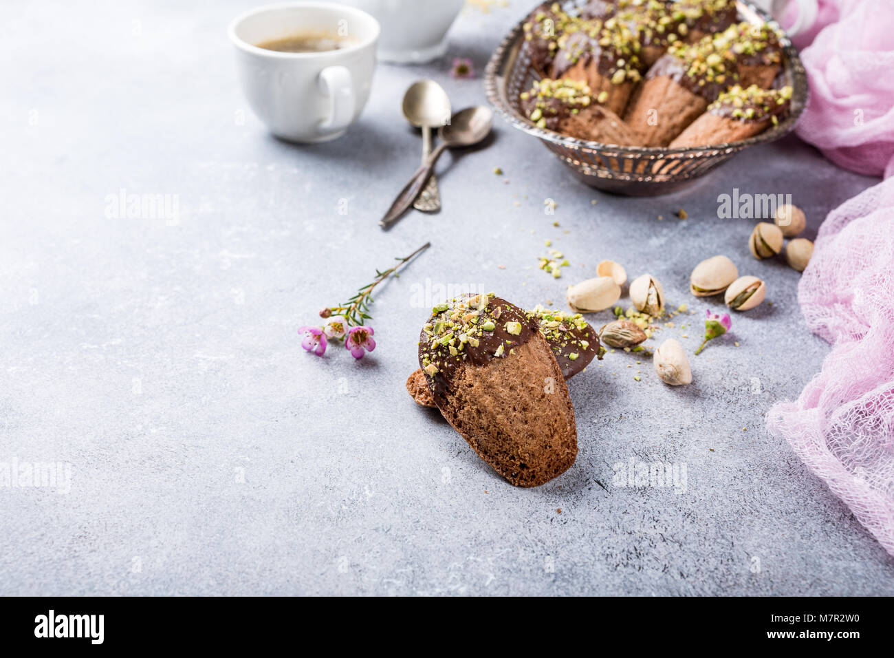 Homemade chocolate cookies Madeleine - Stock Image