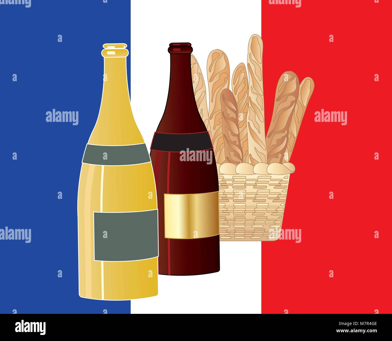 a vector illustration in eps 10 format of bottles of red and white wine with a basket of bread loaves on a French - Stock Image