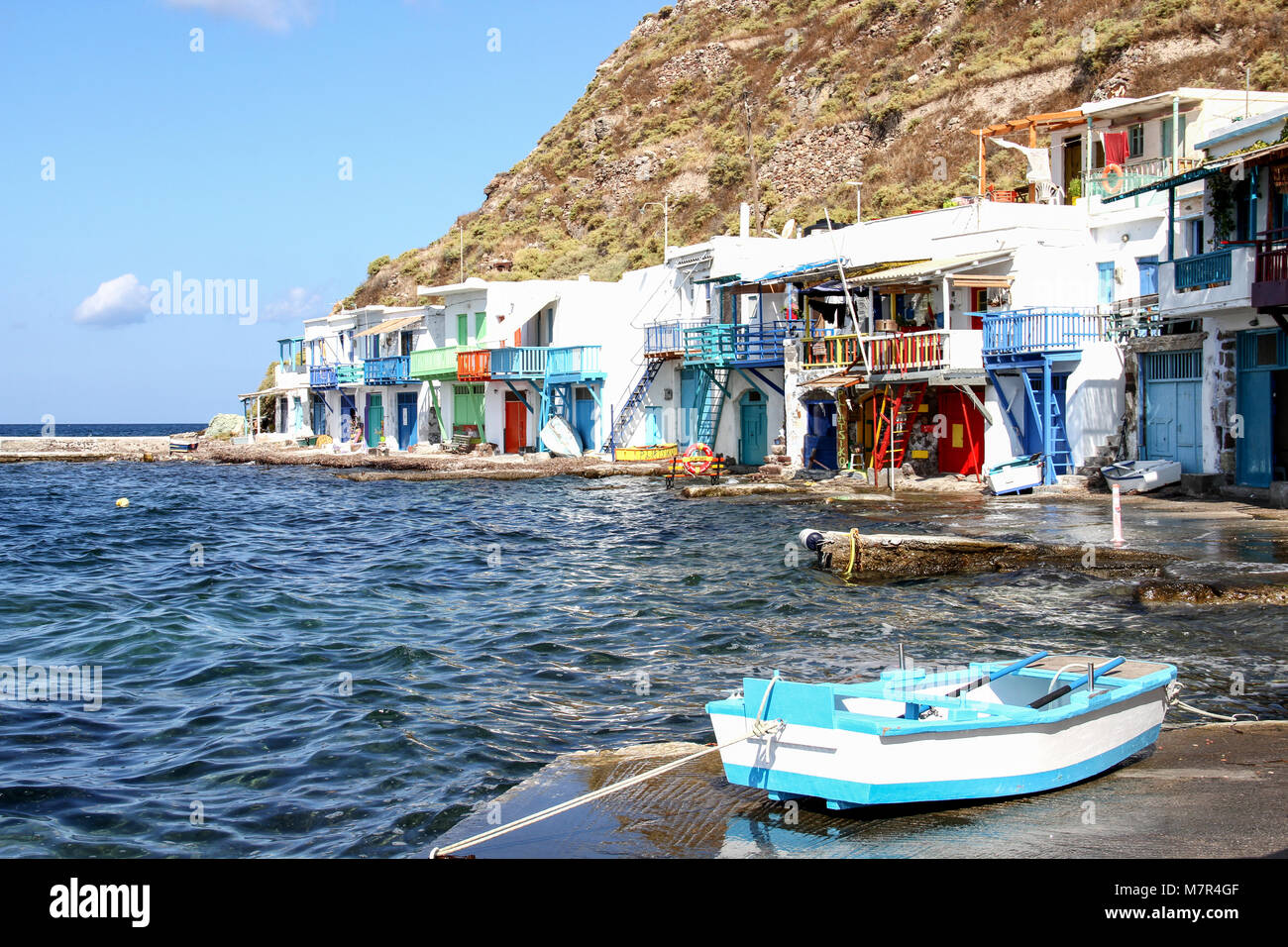 Beautiful and colorful village of Klima, Milos island, Cyclades islands, Greece - Stock Image