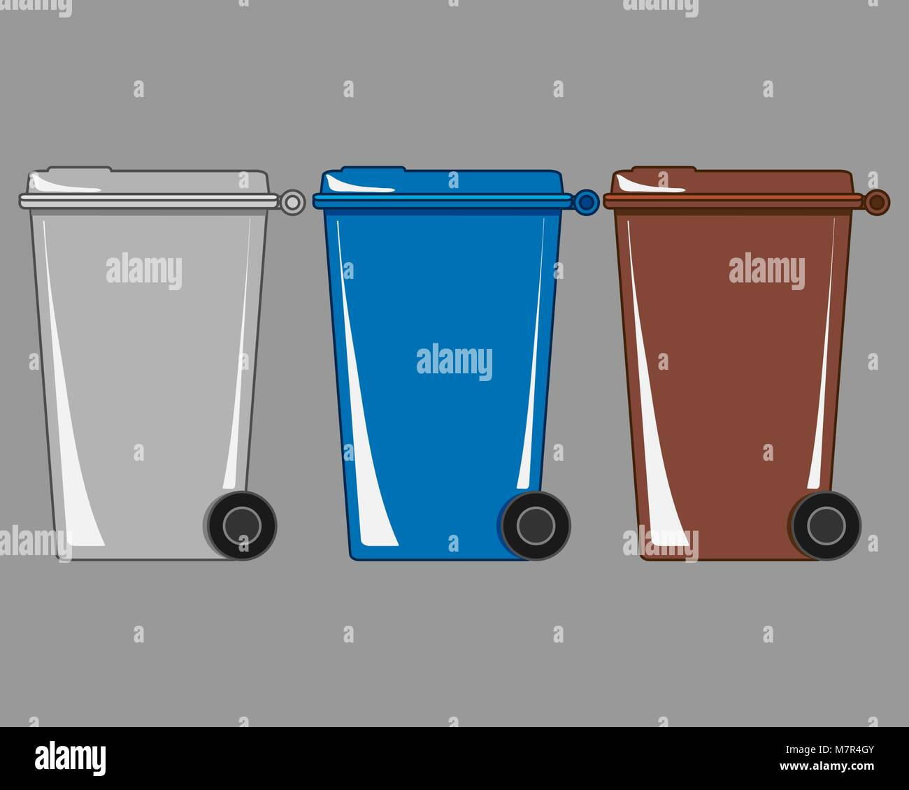 a vector illustration in eps 8 format of refuse and recycling bins on a gray background - Stock Vector