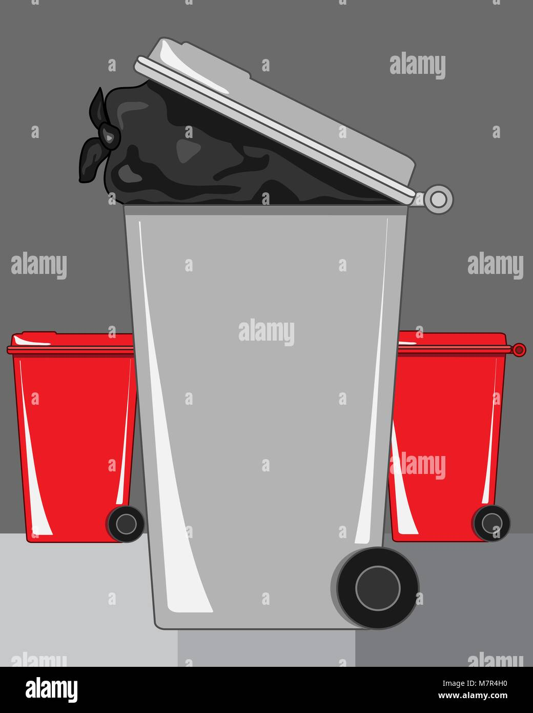 a vector illustration in eps 8 format of a gray refuse bin with a bag of rubbish showing and red recycling bins - Stock Vector