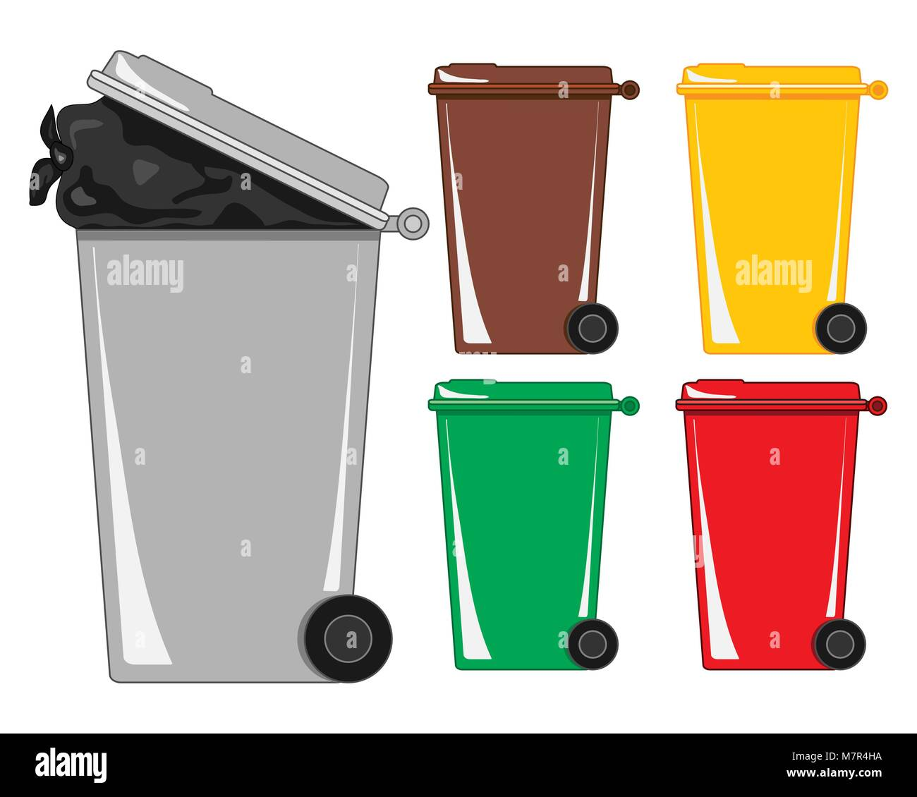 a vector illustration in eps format of a gray refuse bin with a bag of rubbish showing and various recycling bins - Stock Vector