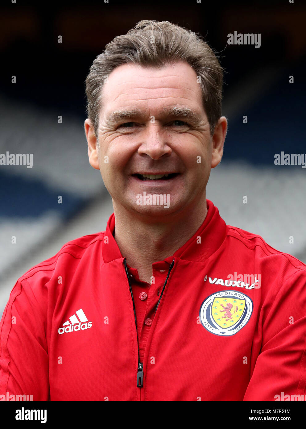 Scotland coach Peter Grant after the press conference at Hampden Park, Glasgow. - Stock Image